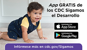Picture of young baby girl crawling with a link to CDC's Milestone tracker