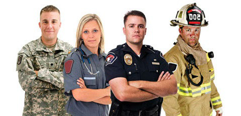 Group of Emergency Workers; Army, Nurse, Policeman, Firefighter