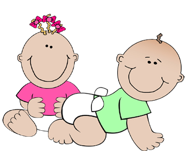 Clipart baby girl in pink shirt and baby boy in green shirt