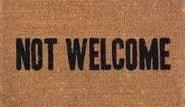 Image of a NOT WELCOME door mat