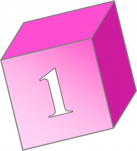 Child's block with a 1 on the front
