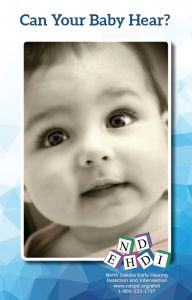 Can your Baby Hear Brochure; baby's face and NDEHDI Logo