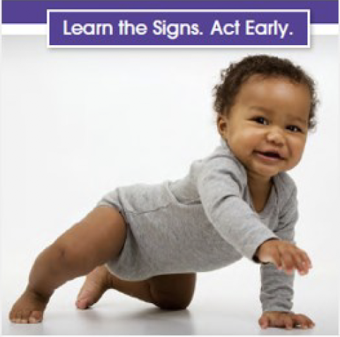 Learn the Signs Act Early Image; baby crawling